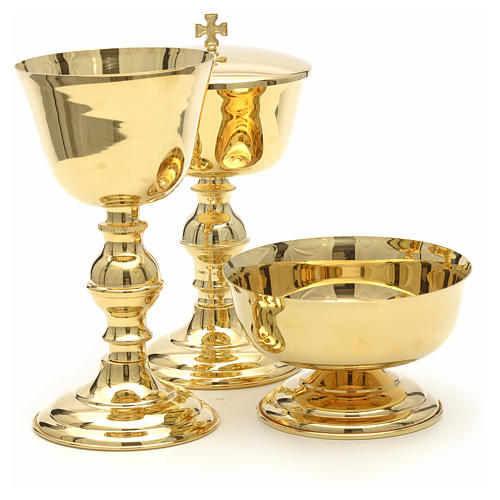 Chalice, ciborium and bowl with polished gold plated finish 6