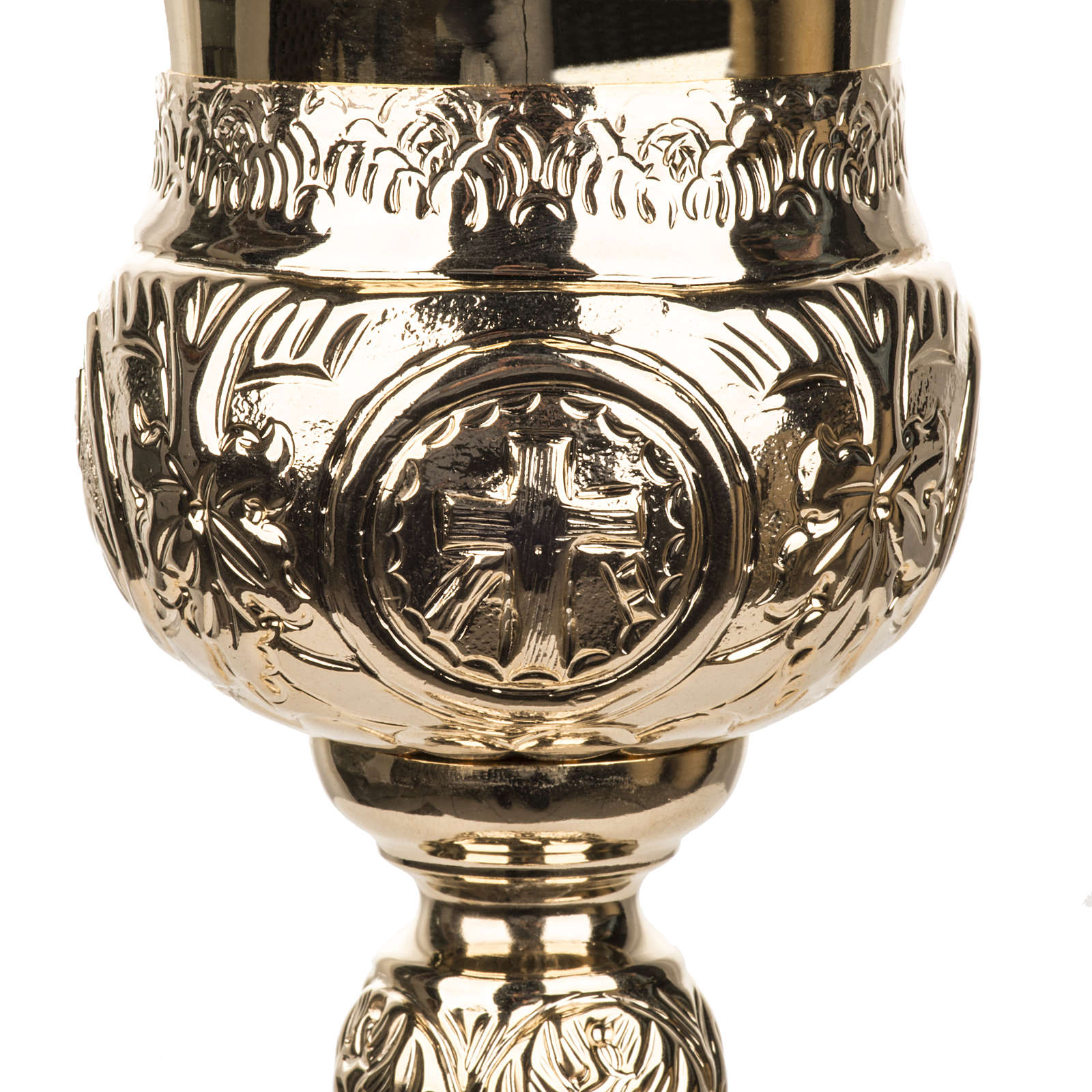 Calice 4 evangelisti ottone dorato 4
