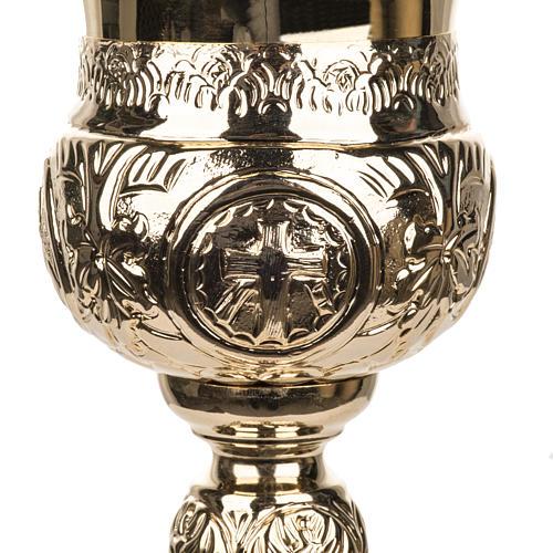 Calice 4 evangelisti ottone dorato 7