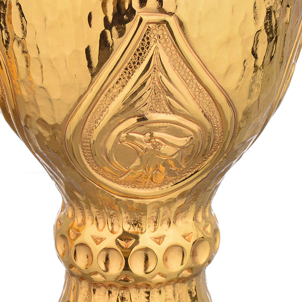 Chalice et ciboire Molina in brass hammered finishing, 4 Evangel 4