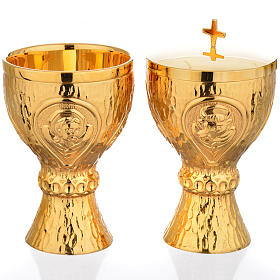 Chalice et ciboire Molina in brass hammered finishing, 4 Evangel s1