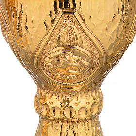 Chalice et ciboire Molina in brass hammered finishing, 4 Evangel s4
