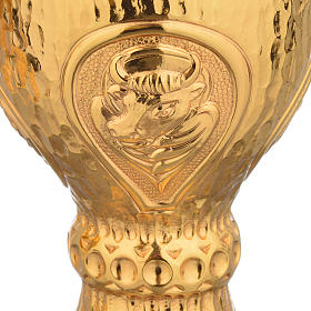 Chalice et ciboire Molina in brass hammered finishing, 4 Evangel s6