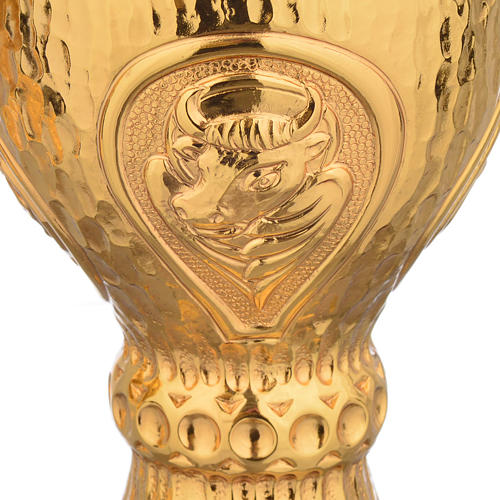 Chalice et ciboire Molina in brass hammered finishing, 4 Evangel 6