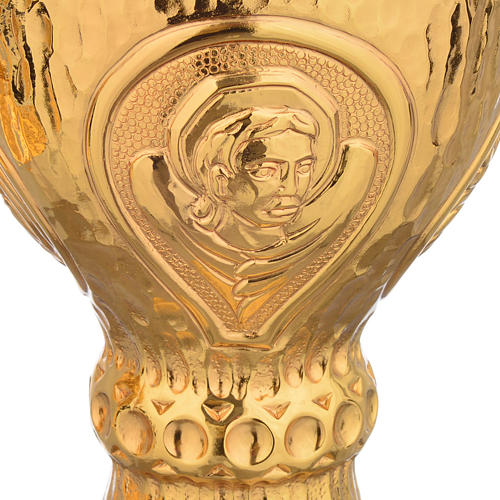 Chalice et ciboire Molina in brass hammered finishing, 4 Evangel 7