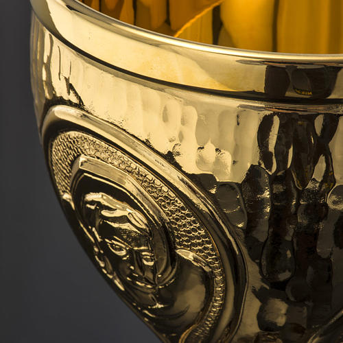 Chalice et ciboire Molina in brass hammered finishing, 4 Evangel 8