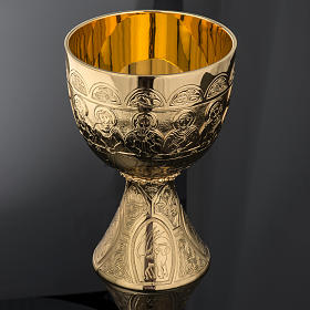 Chalice Molina in golden brass, The Last Supper s4