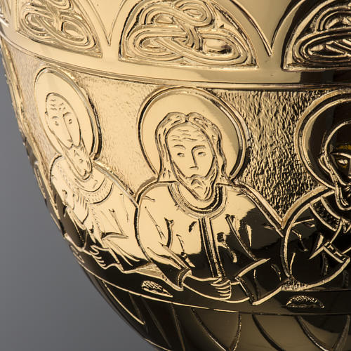 Chalice Molina in golden brass, The Last Supper 8