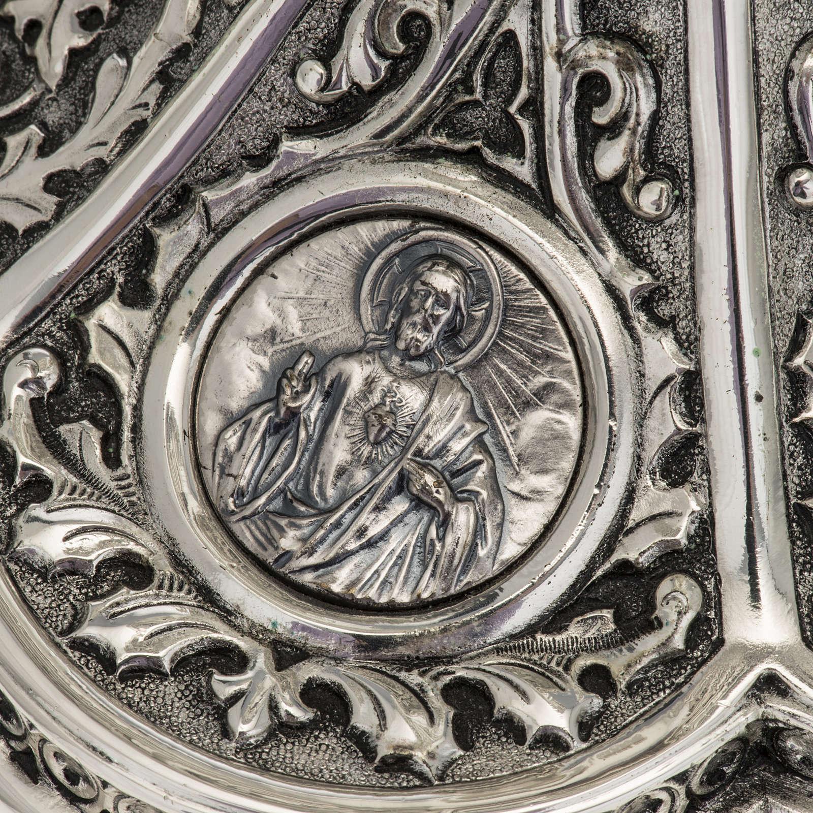 Pisside Molina ottone argentato Maria Gesù Giuseppe 4
