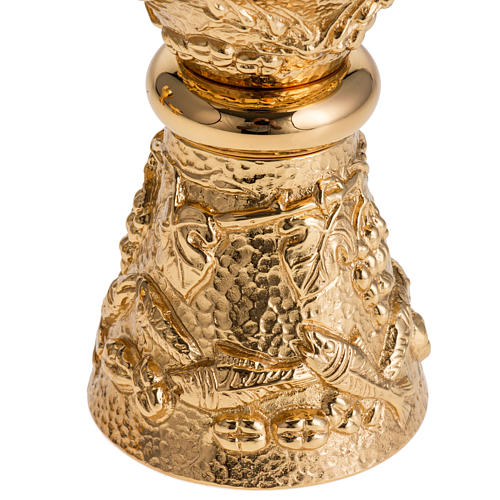 Chalice, ciborium and paten with grapes in gold-plated brass 3
