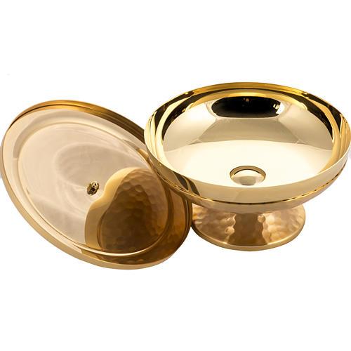 Pisside bassa martellata ottone dorato 4