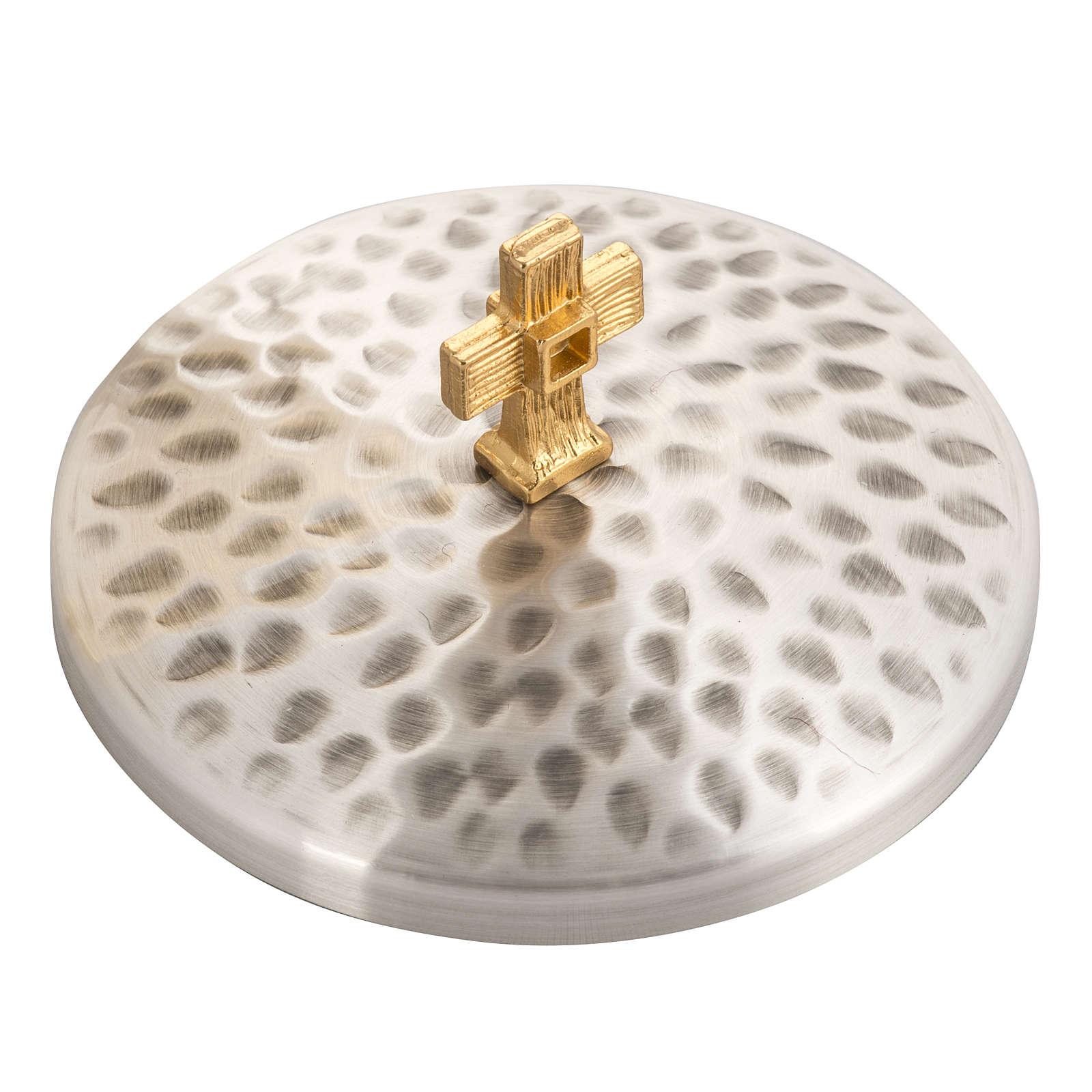 Calice e Pisside ottone martellato, coppa bagno oro 24K 4