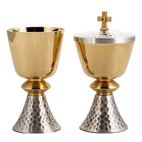 Calice e Pisside ottone martellato, coppa bagno oro 24K s2