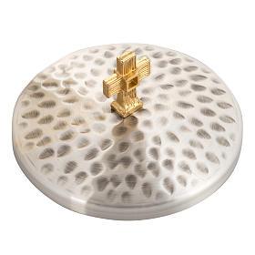 Calice e Pisside ottone martellato, coppa bagno oro 24K s5