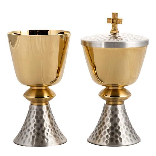 Calice e Pisside ottone martellato, coppa bagno oro 24K 2