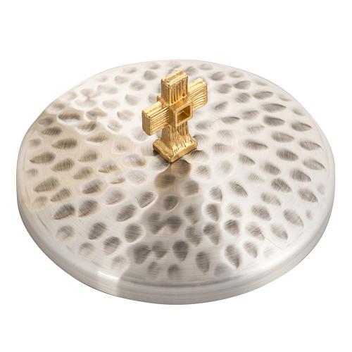 Calice e Pisside ottone martellato, coppa bagno oro 24K 5