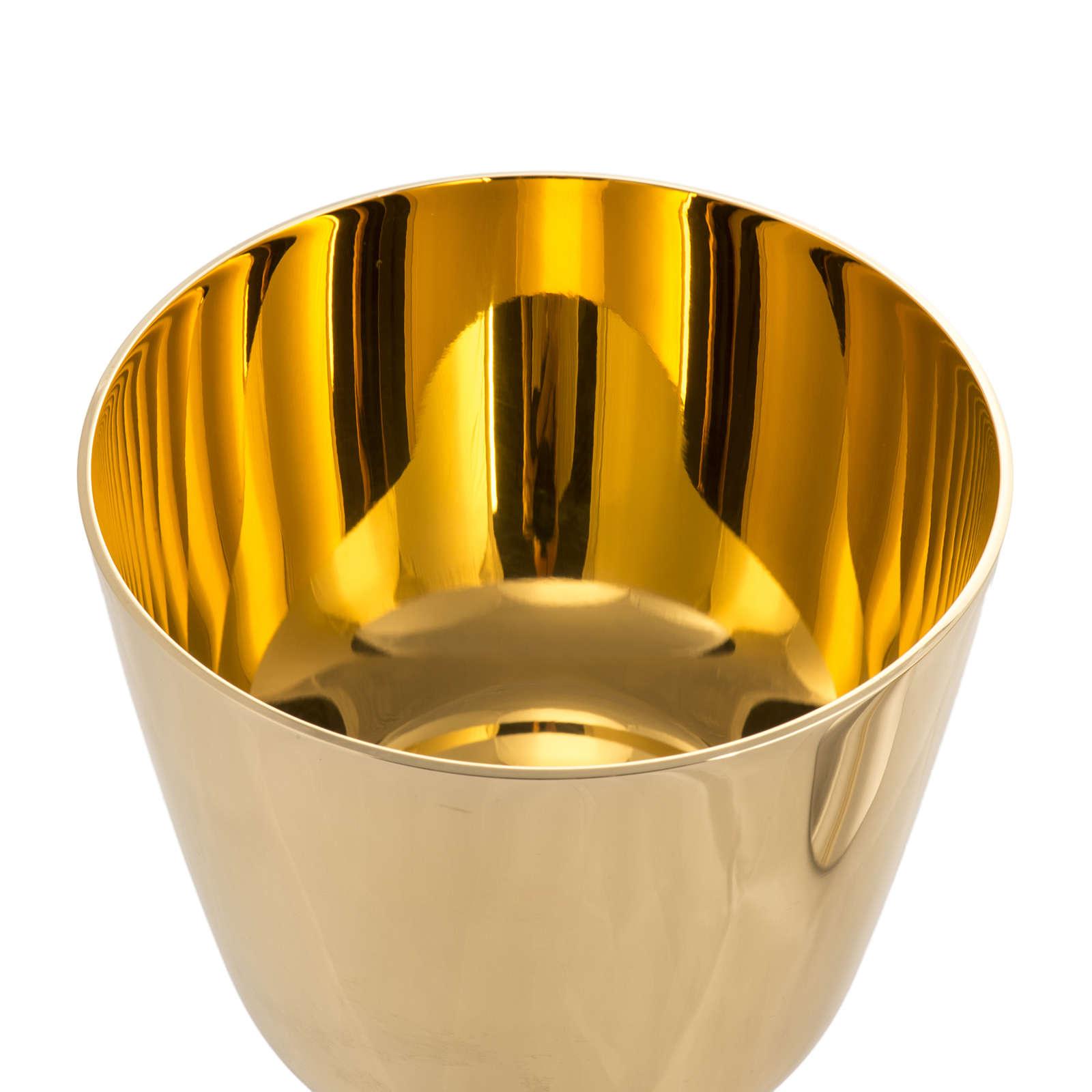 Cáliz y Copón latón liso, copa oro 24K 4