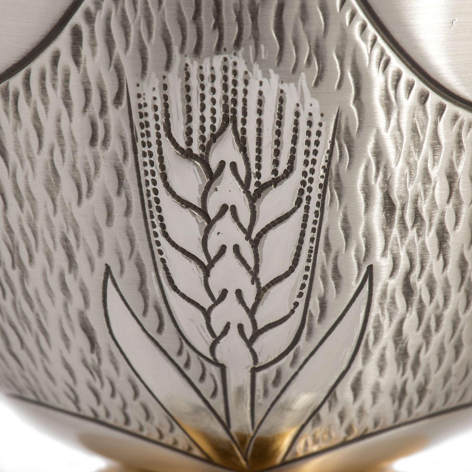 Calice Pisside Patena cesellati grano e uva ottone argentato 4