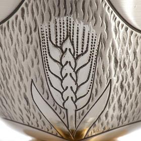 Calice Pisside Patena cesellati grano e uva ottone argentato s5