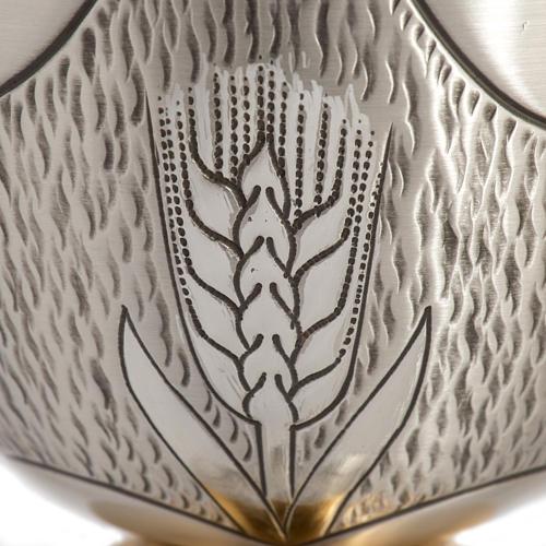 Calice Pisside Patena cesellati grano e uva ottone argentato 5
