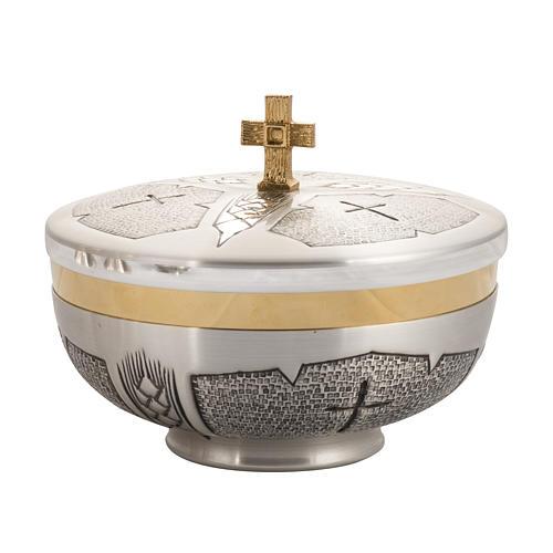 Calice Pisside Patena e Patena offertoriale ottone cesellato arg 6