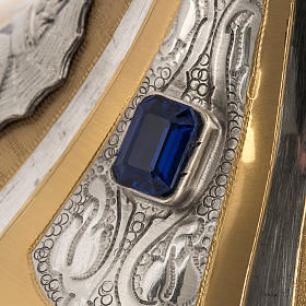 Calice e pisside ottone bicolore cesellato pietre blu s5