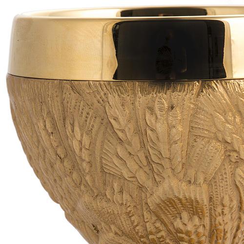 Calice pisside patena spighe ottone e bronzo fuso 4