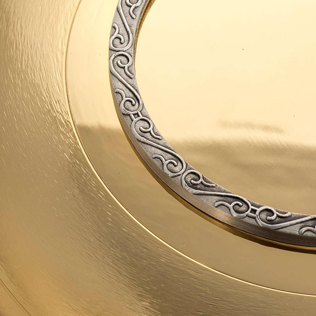 Patena ottone dorato zigrinato anello argentato 4