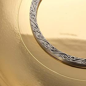 Patena ottone dorato zigrinato anello argentato s3