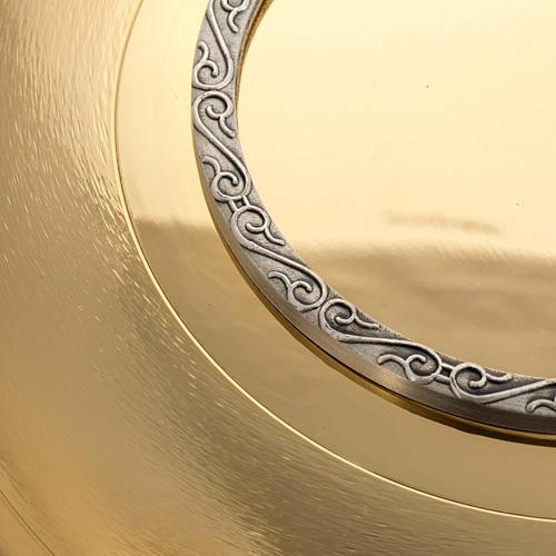 Patena ottone dorato zigrinato anello argentato 3