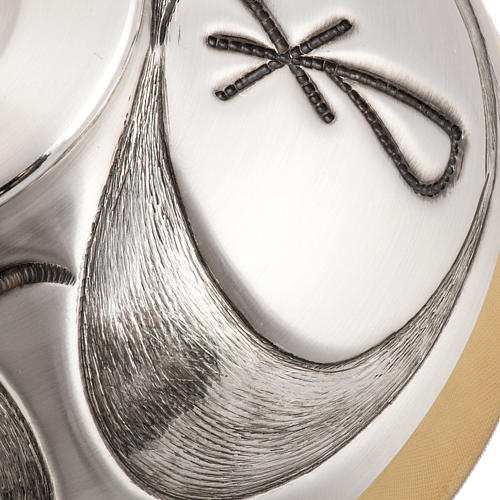 Calice ciboire patène en bronze ciselé et satiné IHS 8