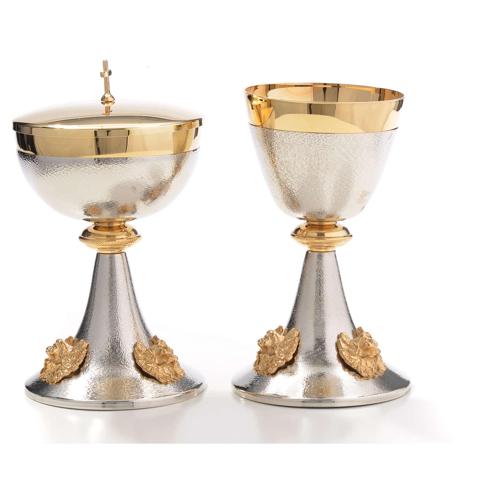 Chalice and Ciborium in silver brass with golden putti 4