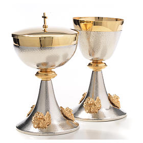 Chalice and Ciborium in silver brass with golden putti s12