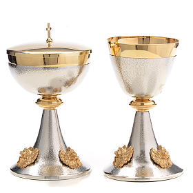 Chalice and Ciborium in silver brass with golden putti s1