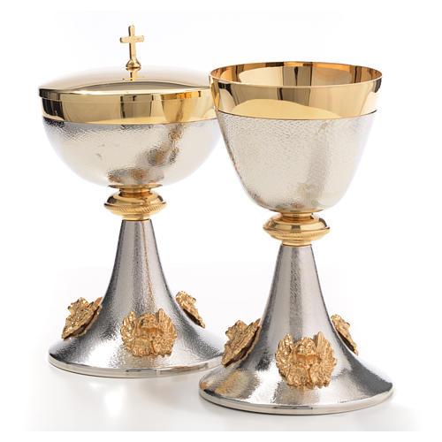 Chalice and Ciborium in silver brass with golden putti 10