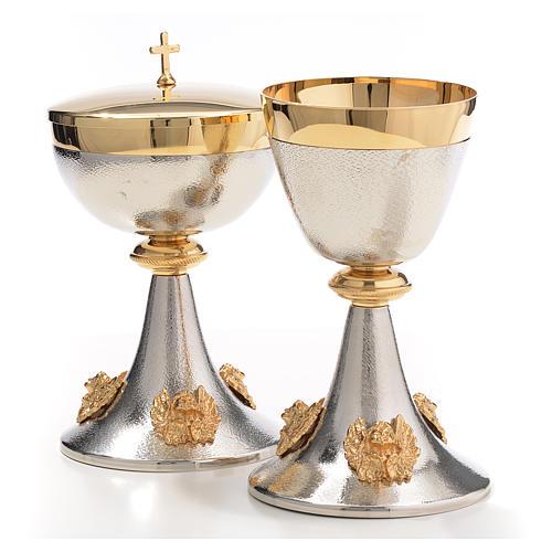 Chalice and Ciborium in silver brass with golden putti 2