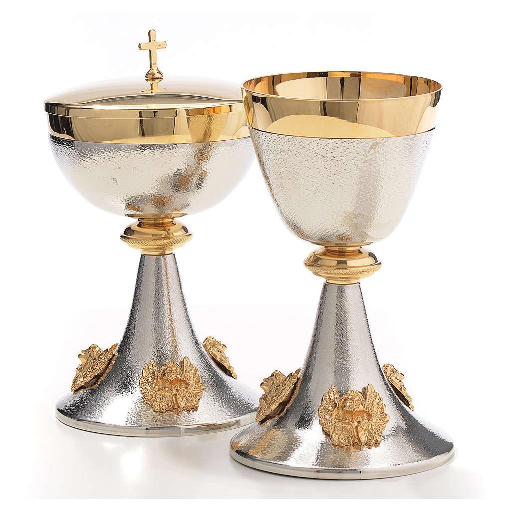 Cálice cibório latão prateado anjos dourados 4