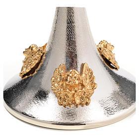 Cálice cibório latão prateado anjos dourados s15