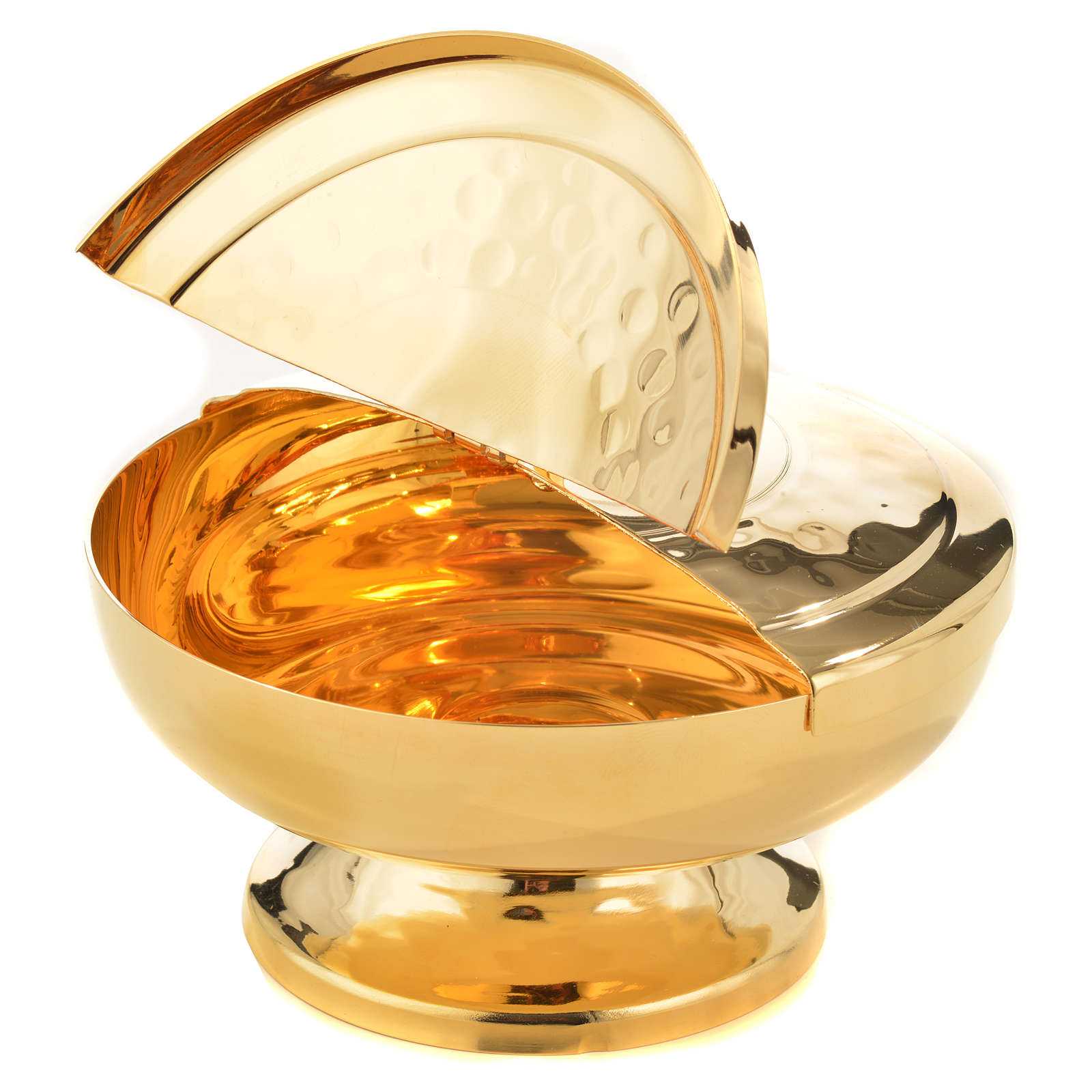 Ciboire laiton doré couvercle ouvrant à moitié 4