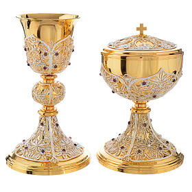 Chalice, Ciborium and Paten in brass with filigree s8