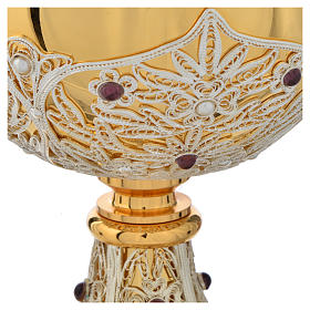 Chalice, Ciborium and Paten in brass with filigree s13