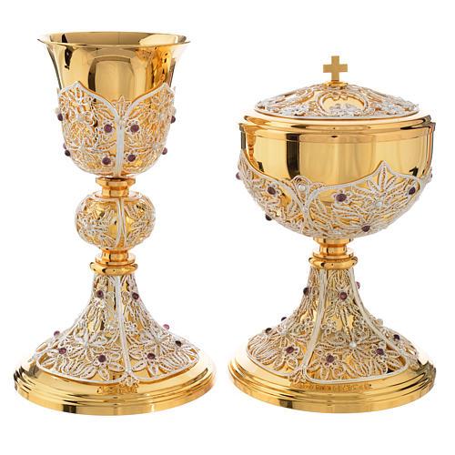 Chalice, Ciborium and Paten in brass with filigree 8