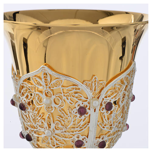 Chalice, Ciborium and Paten in brass with filigree 12