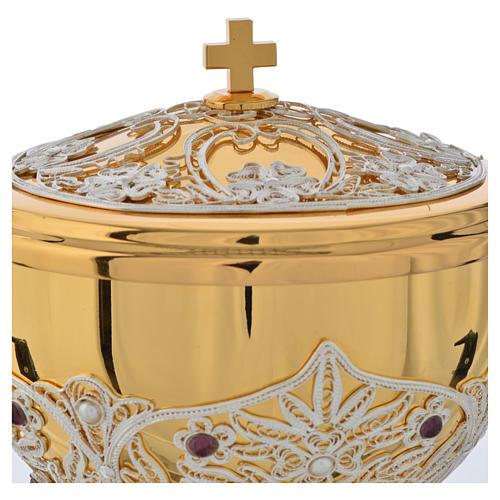 Chalice, Ciborium and Paten in brass with filigree 14