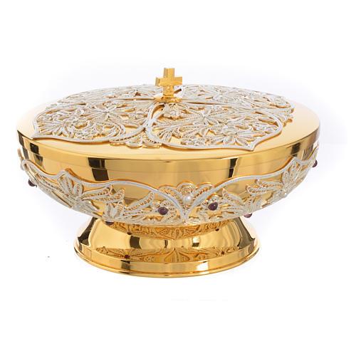 Chalice, Ciborium and Paten in brass with filigree 16