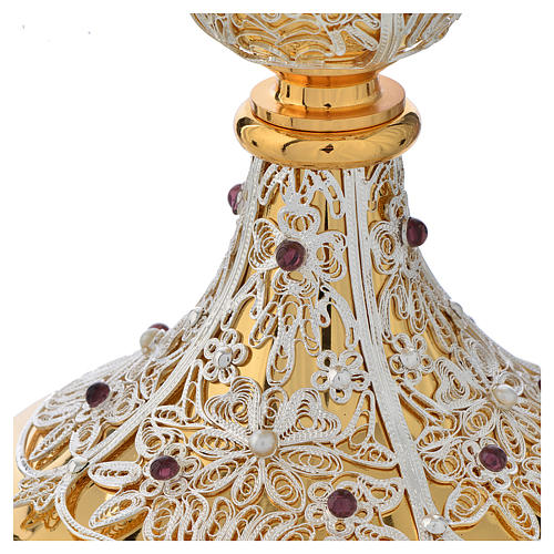 Chalice, Ciborium and Paten in brass with filigree 4
