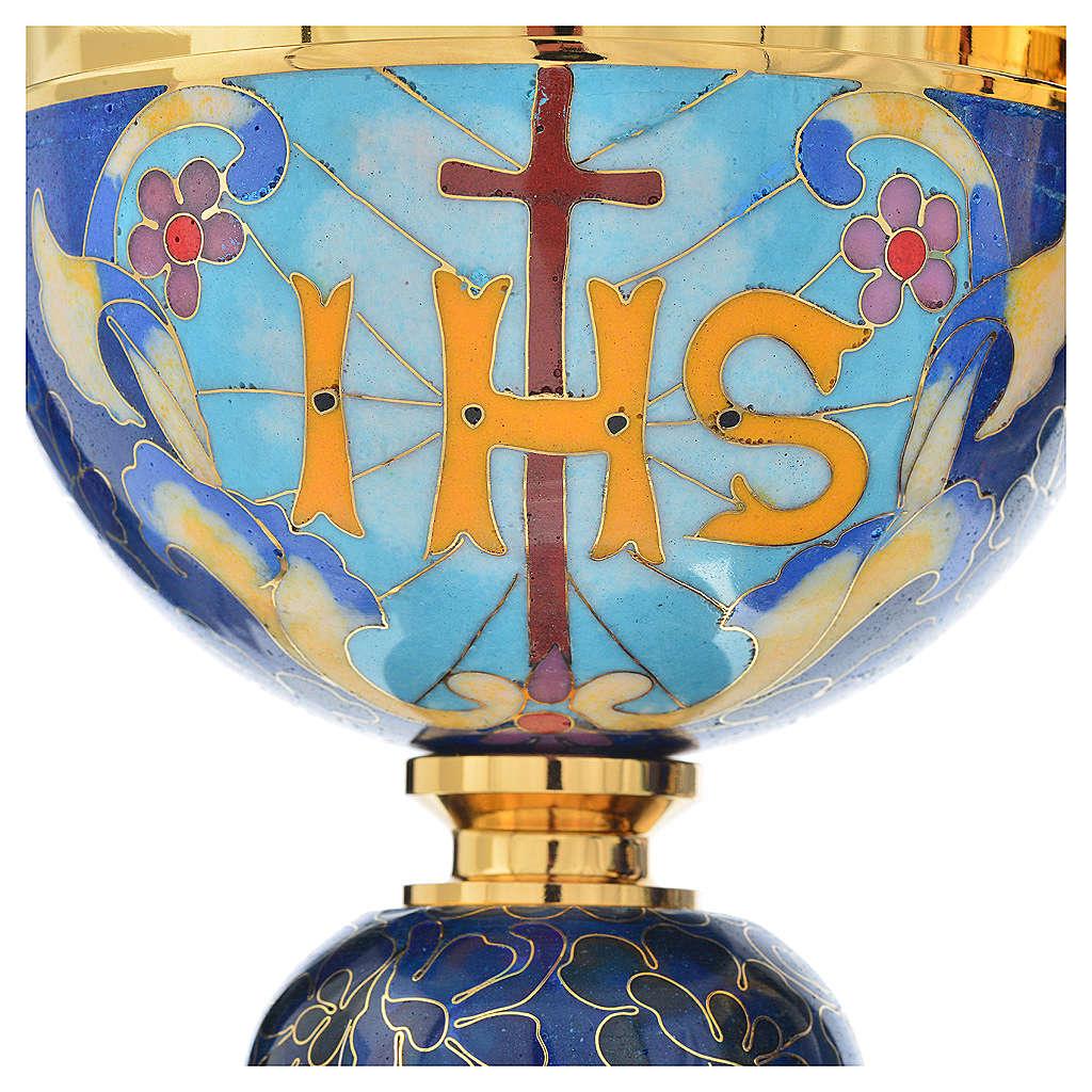 Cáliz y copón latón esmalte cordero IHS 4