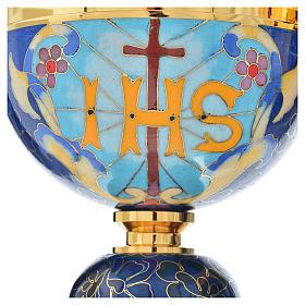 Cáliz y copón latón esmalte cordero IHS s6
