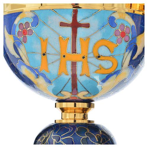 Cáliz y copón latón esmalte cordero IHS 6