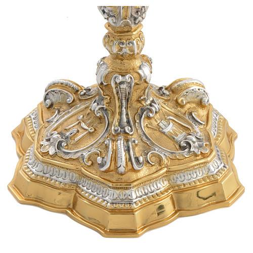 Calice ottone cesellato bicolore stile barocco 3